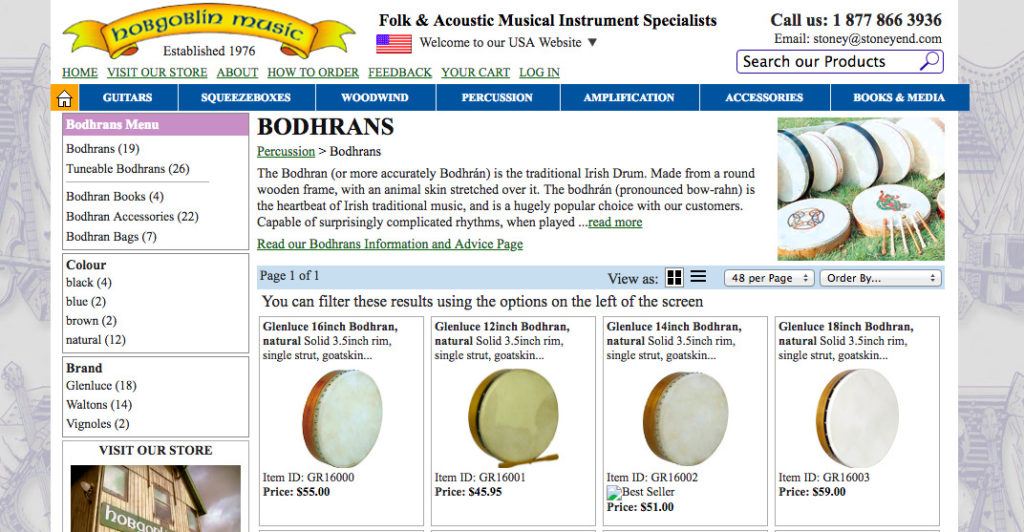 Hobgoblin Music bodhran for sale